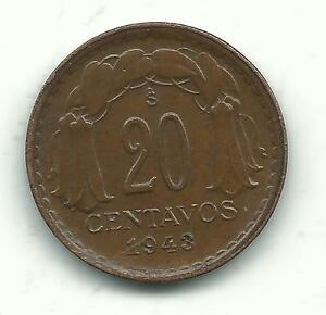 VERY NICELY DETAILED HIGH GRADE 1943 S CHILE 20 CENTAVOS COIN DEC733