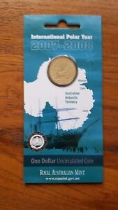 2007 AUSTRALIA DOLLAR   INTERNATIONAL POLAR YEAR UNCIRCULATED IN MINT CARD.
