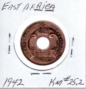 1942 EAST AFRICA 5 CENTS KM 25.2