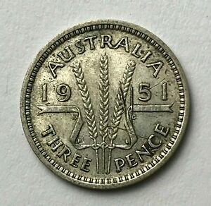 DATED : 1951   SILVER COIN   AUSTRALIA   THREEPENCE   3D   KING GEORGE VI