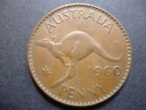 AUSTRALIA ONE PENNY COIN 1960 IN GOOD USED CONDITION BRONZE FEATURES KANGAROO