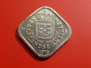 1978 NETHERLANDS ANTILLES 5 CENTS SQUARE COIN