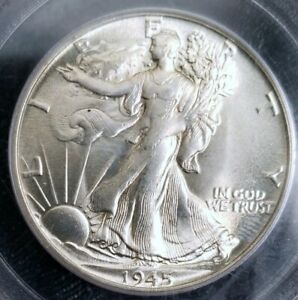 NICE     MS 65 1945 WALKING LIBERTY HALF DOLLAR PCGS NICE LUSTER TO THIS COIN