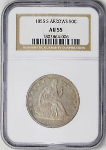Click now to see the BUY IT NOW Price! 1855 S LIBERTY SEATED 50C NGC AU 55
