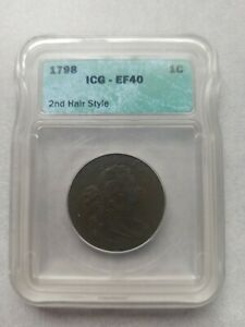 1798 DRAPED BUST LARGE CENT 2ND HAIRSTYLE ICG EF40