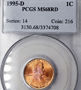 1995 D MS68 RD RED LINCOLN MEMORIAL CENT 1C PCGS GRADED