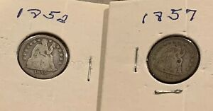 LOT OF 2   1852 AND 1857 O SEATED LIBERTY SILVER DIME