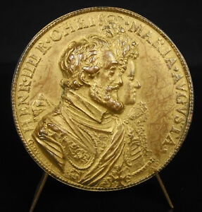 MEDAL UNIFACE GOLD HENRI IV MARY OF MEDICIS AP GUILLAUME DUPR 1603 MEDAL