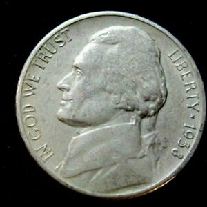 1938S VF  NICE JEFFERSON NICKEL JN1817 55C SHIPPING 3 OR MORE FREE SHIP