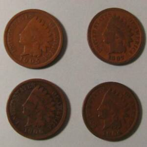 INDIAN HEAD CENTS   LOT OF FOUR COINS   LOT PB 20