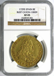 Click now to see the BUY IT NOW Price! 1729 S SPAIN GOLD 8 ESCUDOS BUST CAYON 10009 NGC XF45