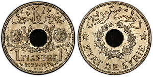 Click now to see the BUY IT NOW Price! SYRIA. 1929  A  NICKEL BRASS ESSAI PIASTRE PCGS SP65 KM E3; LEC. 8. JUST 64 PCS.