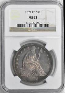 Click now to see the BUY IT NOW Price! 1872 CC LIBERTY SEATED S$1 NGC MS 63