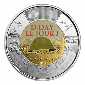2019 CANADA 75TH D DAY COLOURED UNC  $2 TOONIE COIN