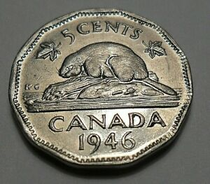 1946 CANADA FIVE CENTS  GEORGE VI  NICKEL BEAVER  12 SIDED
