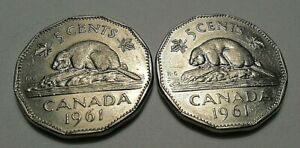 1961 CANADA FIVE CENTS  ELIZABETH II  NICKEL BEAVER  12 SIDED  2 COINS