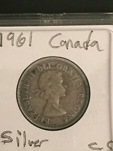 1961 25C CANADA 25 CENTS  SILVER CANADIAN QUARTER ACTUAL COIN PICTURED