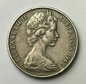 DATED : 1968   AUSTRALIA   TWENTY CENTS   20 CENT COIN   QUEEN ELIZABETH II