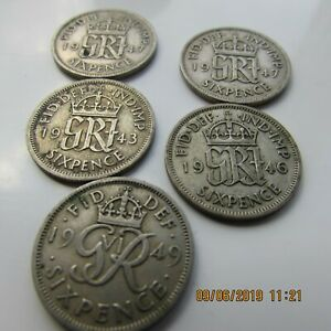 5 X  ASSORTED KING GEORGE VI SILVER SIXPENCE COINS 1 EACH OF 1943 46 & 49& 2X47
