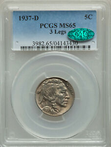 Click now to see the BUY IT NOW Price!  KEY DATE 1937 D 5C 3 LEGS THREE LEGGED PCGS MS65 CAC GEM BUFFALO NICKEL