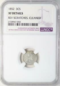 1852 THREE CENT SILVER NCG XF DETAILS   NICE TYPE COIN  DOUBLEJCOINS  2005 90