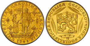 Click now to see the BUY IT NOW Price! CZECHOSLOVAKIA. 1978 AV 5 DUKATEN. PCGS MS66 KM M24 600TH ANNIV DEATH CHARLES IV