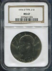 Click now to see the BUY IT NOW Price! 1976 D TYPE 2 $1   ONE DOLLAR   NGC MS67   TOP POP     ONLY 23 GRADED