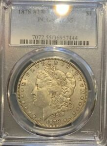 1878 8 TF MORGAN SILVER DOLLAR PCGS AU55.  VAM 4 DENTICLE CHIP 8 TAIL FEATHERS