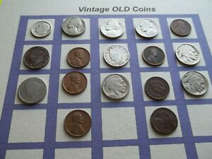 ESTATE LOT OF OLD COINS 50 TO 125 YEARS OLD WITH SOME SILVER  17 COINS   OC17
