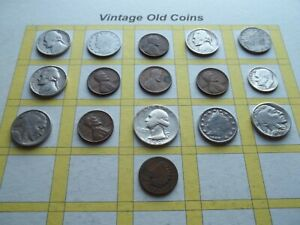ESTATE LOT OF OLD COINS 50 TO 125 YEARS OLD WITH SOME SILVER  16 COINS   OC28