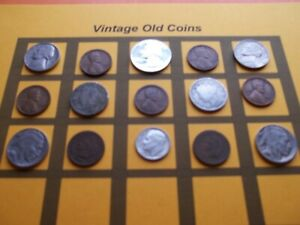 VINTAGE LOT OF OLD COINS 50 TO 125 YEARS OLD WITH SOME SILVER  15 COINS   OC89