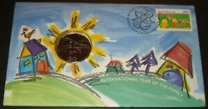 AUSTRALIA INTERNATIONAL YEAR OF THE FAMILY 50 CENT COIN ON FDC COVER