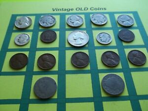 ESTATE LOT OF OLD COINS 50 TO 125 YEARS OLD WITH SOME SILVER  16 COINS   OC7