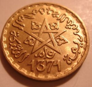 MAROC 1371 10 FRANCS GOLD COLORED COIN