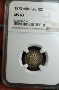 1873 SEATED LIBERTY DIME WITH ARROWS 10C NGC GRADED MS63 SILVER COIN