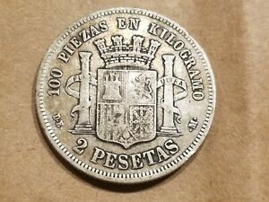 Click now to see the BUY IT NOW Price! 1870  73  SPAIN 2 PESETAS SILVER COIN SPANISH KM 654 NICE