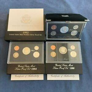 Click now to see the BUY IT NOW Price! 1994 & 1995 US SILVER PROOF SETS & 1992 PREMIER SET W/COA'S    USA