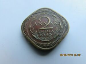 1945  BRITISH INDIA  2 ANNAS  GEORGE  V11 COIN UNCLEANED GOOD DETAIL
