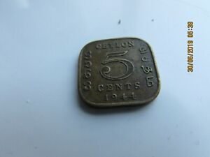 1944 CEYLON 5 CENTS  COIN IN  GOOD CONDITION  UNCLEANED GOOD DETAIL