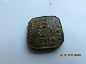 1944 CEYLON 5 CENTS  COIN   GOOD CONDITION  UNCLEANED GOOD DETAIL