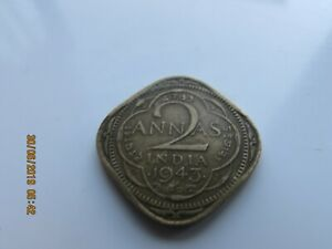 1943 BRITISH INDIA  2 ANNAS  GEORGE  V11 COIN UNCLEANED GOOD DETAIL