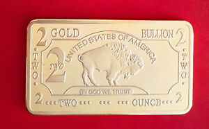 LINGOT 2 OZ OR .999 PLAQU 100 MILLS BUFFALO BISON GOLD BULLION