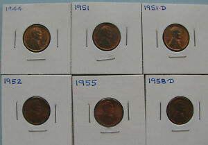 LINCOLN WHEAT CENTS   RED AND BROWN   LOT OF SIX COINS