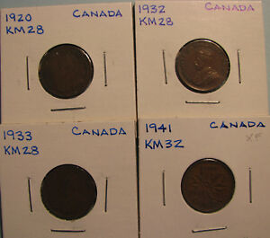 CANADA SMALL CENTS   LOT OF FOUR COINS   ITEM CSC LOT4 04