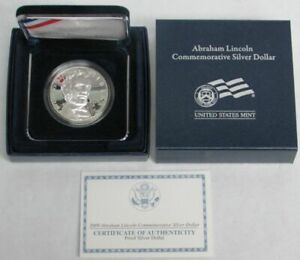 2009 P ABRAHAM LINCOLN PROOF COMMEMORATIVE SILVER $1 DOLLAR COIN BOX COIN