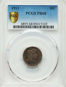 Click now to see the BUY IT NOW Price! ULTRA LOW MINTAGE 1911 10C PROOF BARBER DIME PCGS MS68 GOLD SHIELD SECURE