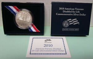 2010 W AMERICAN VETERANS DISABLED FOR LIFE SILVER DOLLAR. W/ COA AND CASE.