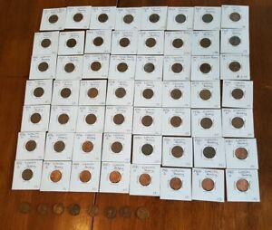 JUNK DRAWER PENNY COIN LOT COLLECTOR 1940S 1983D 64 TOTAL