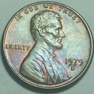 1979 D LINCOLN MEMORIAL PENNY RAINBOW TONED CIRCULATED ERROR COIN