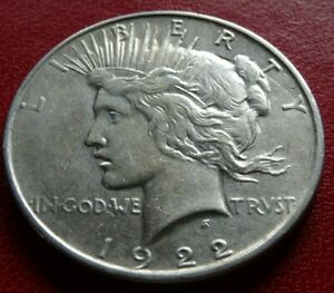 NICE 1922 D PEACE DOLLAR COIN BIG OLD DENVER MINT SILVER $1.00 COLLECTION